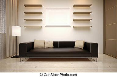 belső, eleven, modern hely, design.