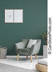 belső, eleven, zöld, szoba
