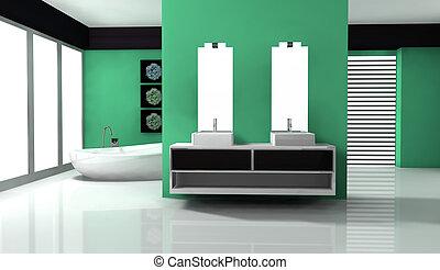 belső, fürdőszoba, tervezés