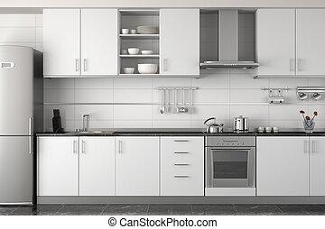 belső, fehér, modern, tervezés, konyha