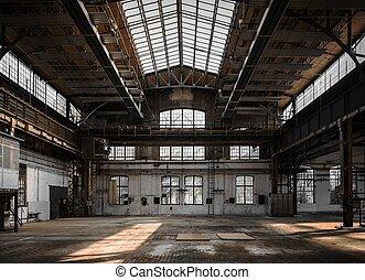 belső, ipari, öreg, gyár