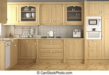 belső, klasszikus, tervezés, konyha