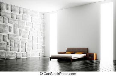 belső, modern, hálószoba, 3
