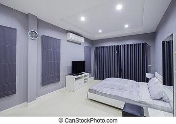 belső, modern, hálószoba
