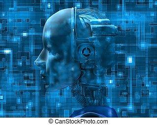 belső, robot emberi külsővel, technológia, jellemző