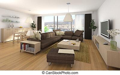 belső tervezés, szoba, modern