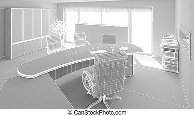 belső, vakolás, modern, hivatal, 3