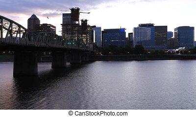 belváros, timelapse, oregon, portland, éjszaka, nap