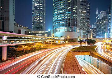 belvárosi, éjszaka, forgalom, terület