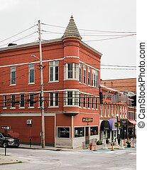belvárosi, rutland, történelmi, vermont, piros épület