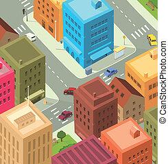 belvárosi, város, -, karikatúra