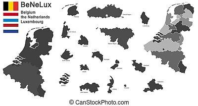 benelux-, országok, árnykép