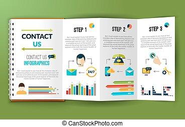 bennünket, érintkezés, irattartó, infographics, jegyzet