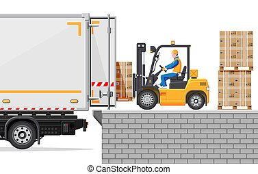 berakodás, csereüzlet, dobozok, szalmaágy, targonca, teherautó
