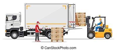 berakodás, csereüzlet, szalmaágy, teherautó, dobozok, targonca