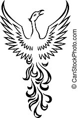 berd, főnix madár, tetovál