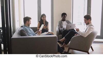 berendezés, ülés, birtok, csoport, ügy emberek, különböző, használ, hivatal