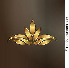 berendezés, arany, lótusz, kép, fényűzés, jel