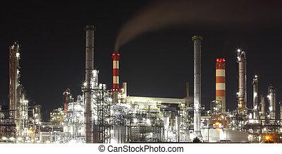 berendezés, petrolkémiai, -, gyár, finomító, olaj, éjszaka