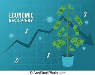 berendezés, statisztika, felépülés, nyíl, gazdasági, poszter, particles, covid19, dollárok, vírus