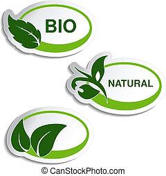 berendezés, természetes, levél növényen, -, jelkép, vektor, böllér
