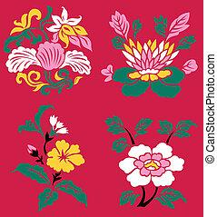 berendezés, virág, keleti, ábra