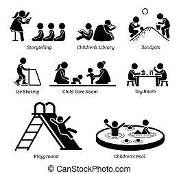 berendezések, szórakozási, activities., gyerekek