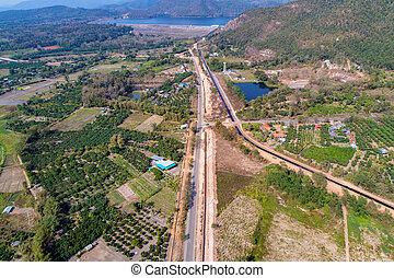 beside., hegy, (shooting, észak, drone), mező, thailand., irány, thaiföld, jár, vidéki, völgy, út