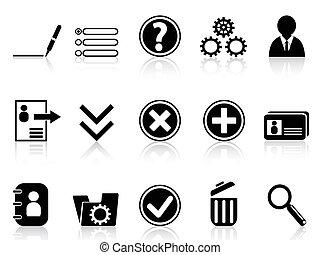beszámoló, ikon, fekete, internet, settings