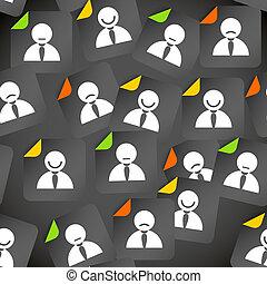 beszámoló, tolong, média, elvont, seamless, háttér, társadalmi, avatars.
