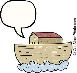beszéd, bárka, buborék, karikatúra, noah's