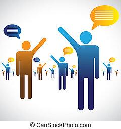 beszéd, beszélgető, ikonok, sok, graphic., emberek, ábra, egy, jelkép, más, csevegés, vagy, beszélő, látszik