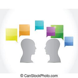 beszéd, emberek., tervezés, ábra