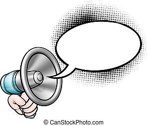 beszéd, hangszóró, buborék, karikatúra