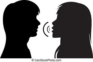 beszéd, körvonal, nők, két, fiatal