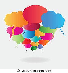 beszéd, léggömb, színes