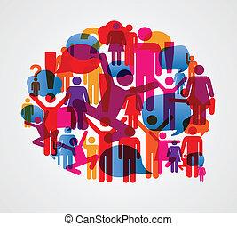 beszéd, társadalmi, buborék, emberek