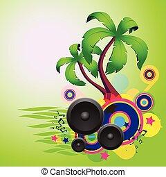 beszélók, táncol, disco, tropikus, zöld háttér