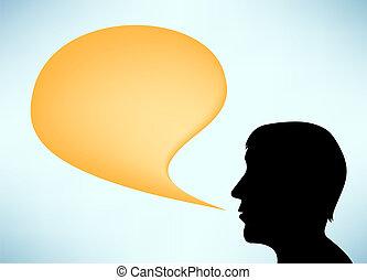 beszélő, elvont, árnykép, ember