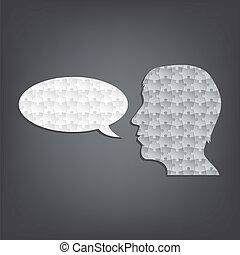 beszélő, elvont, árnykép, rejtvény, ember