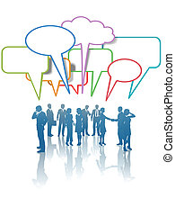beszél, emberek ügy, hálózat, kommunikáció, média, befest