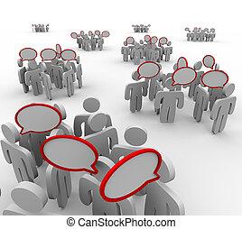 beszélgetés, beszéd, hallgatóság, alakzat, beszéd, panama
