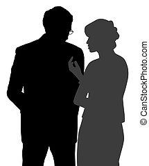 beszélgetés, nő, tapintatos, ember