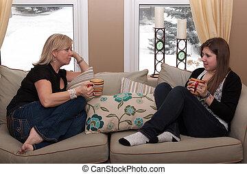 beszélgetés, tizenéves, lány, birtoklás, anya