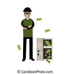 betörő, kinyitott, pénz, páncélszekrény, maszk, ábra, vektor, profi, betű