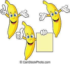 betű, banán, karikatúra