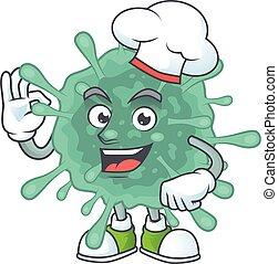 betű, coronaviruses, fárasztó, konyhafőnök kalap, film, fehér, karikatúra