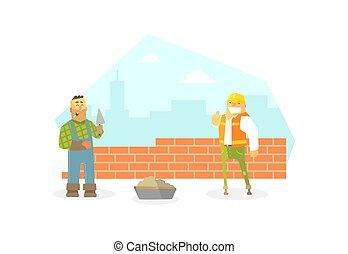 betű, háló, design., építő, buiding, ábra, szerkesztés, fal, tégla, lakás, munkás, hím, vektor