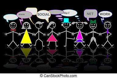 betű, hálózat, vektor, -, társadalmi