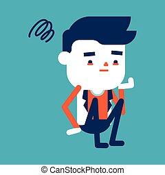 betű, kérdez, ábra, karikatúra, üzletember, birtoklás, design.